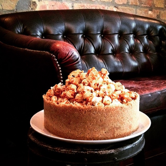 One of their fancy creations: popcorn cake at Distrikt Coffee in Berlin.